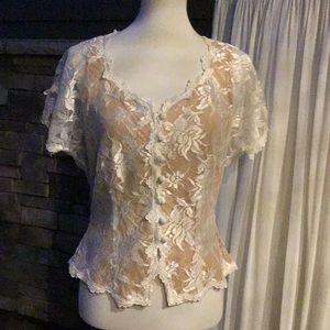 Vintage Carole Little size 12 ivory lace pants set